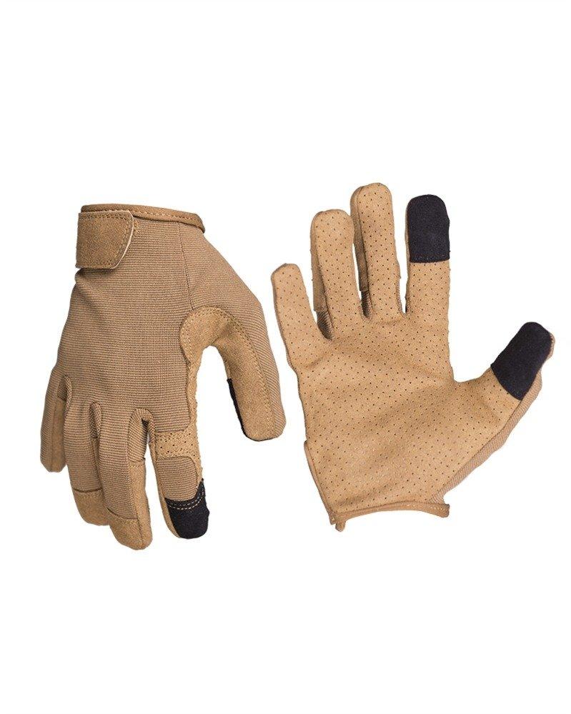 Mil-Tec Mens Fingerless Leather Gloves Black