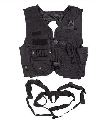 CZECH BLACK COMBAT VEST WITH SEAT HARNESS LIKE NEW