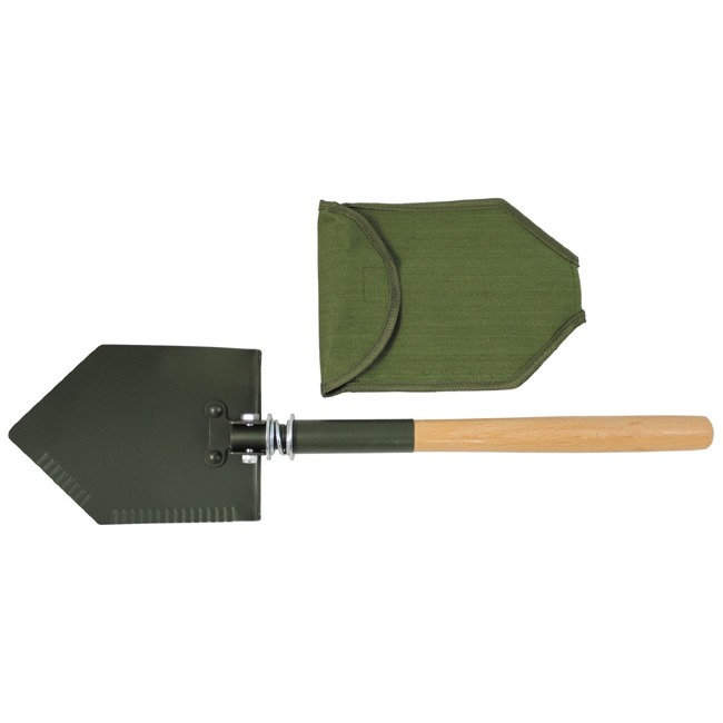 Folding Shovel, OD green, wooden handle, cover used