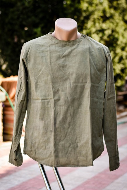 Romanian Olive Long Sleeve Slip Shirt like new